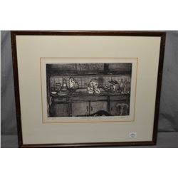 "Framed etching titled ""Sunday Morning"" signed by artist Toti '81, 9"" X 12"""
