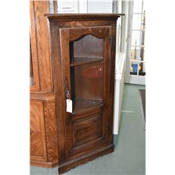 Antique quarter cut oak single door corner display cabinet
