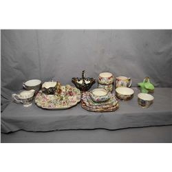 Selection of vintage chintz pottery including Lord Nelson and Royal Winton creams and open sugars, s