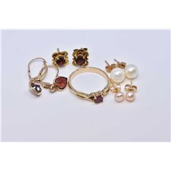Selection of lady's gold jewellery including genuine pearl studs, small round ruby gemstone ring and