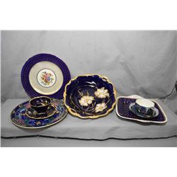 Tray lot of china collectibles including Rosenthal Pompadour bowl, Royal Doulton plate D3088, Aynsle