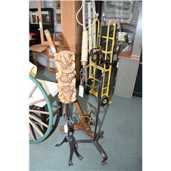 "Wrought iron 31"" floor standing candle holder with large figural German bees wax candle and a floor"