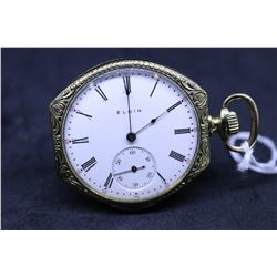 "Elgin size ""12"" , 7 jewel pocket watch, serial # 13726743, dates to 1909. Nickel plate pendant wind"