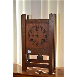 Quarter cut oak Mission style chiming mantle clock, working at time of cataloguing