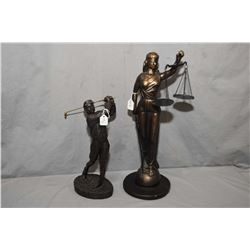 "Two sculptures style figures including plaster blind lady justice figure and cast metal golfer ""Down"