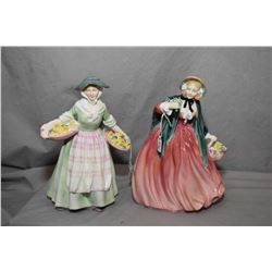 Two Royal Doulton figurines including Daffy-Down-Dilly HN1712 and Lady April HN1958
