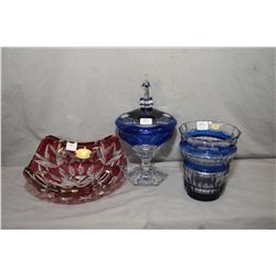 Three pieces of Val St. Lambert crystal including a ruby cut to clear center bowl, two pieces of cob