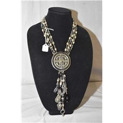 Vintage David Navarro four strand beaded necklace with large medallion, strands beads and hanging ch