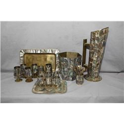 Selection of abalone shell items including six small aperitif on small brass tray, set of six aperit