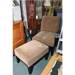 Semi contemporary open arm parlour chair and ottoman with taupe micro fibre upholstery