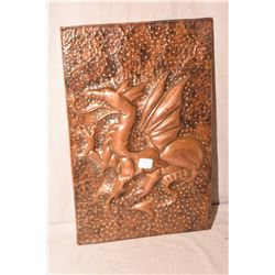 """Arts and crafts hand hammered copper dragon plaque on wooden backing with hanger, 17"""" X 11"""""""