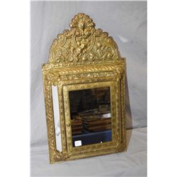 Antique style embossed brass wrapped wall hanging mirrored clothing brush cupboard