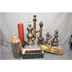 Selection of vintage table lamps, most with European wiring and a selection of large German Eika Ker