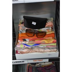 Fifteen silk scarves, various makers and designers plus a pair of Tom Ford designer sunglasses with