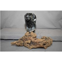 """Carved soapstone raven on drift wood log, overall height 14"""", no artist signature seen"""