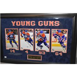 Shadow box framed coloured photograph collage of the Oiler's Young guns including Jordan Eberle, Tay