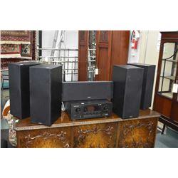 Selection of audio equipment including Marantz SR5200 surround receiver, six Paradigm speakers inclu
