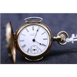 "Waltham size ""0"", 7 jewel Seaside grade pocket watch, serial # 6756124, dates to 1895; with 3/4 gilt"