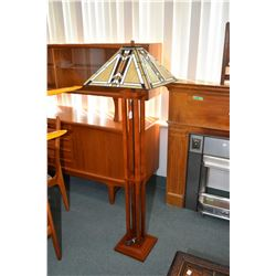 Modern Mission style floor lamp with slag glass leaded shade