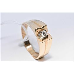 Gent's 14kt white and yellow gold diamond solitaire ring set with 0.11ct brilliant white diamond. Re