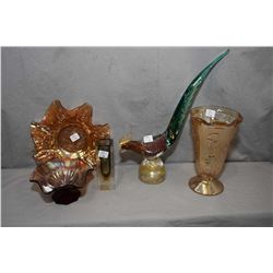 Selection of glass including large Murano pheasant, small Murano vase and three pieces of vintage Ca