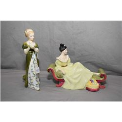 Two Royal Doulton figurines including Veneta HN2722 and At Ease HN2473