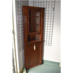"""Modern antique style corner cabinet with enclosed lower storage and glass display top section, 74"""" i"""
