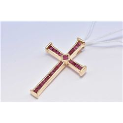 14kt yellow gold and channel set square genuine ruby gemstone cross pendant