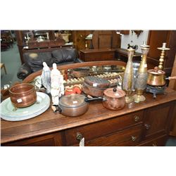 Large selection of collectibles including copper pots, warmer, candlesticks, religious figurines, ti