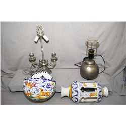 Finstain pewter double candlestick motif electric lamp, an Ikea lamp and two pieces of Italian wall