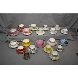 Large selection of tea cups and demitasses including Royal Albert, Aynsley, Colough, Wedgwood, Parag
