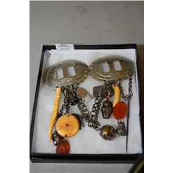 Vintage David Navarro double concho buckle style jewellery piece with hanging artefact style charms