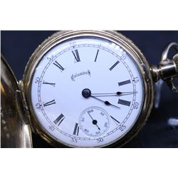 "Columbus size ""6"" , 15 jewel pocket watch. Adjusted serial # 313633, dates to 1895. 3/4 nickel plate"