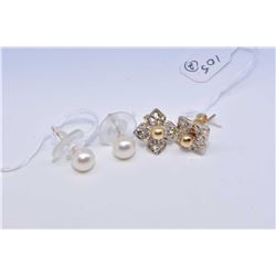 Two pairs of lady's gold earrings including 14kt earrings set with diamonds, note missing one stone