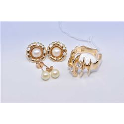 Lady's 10kt yellow gold ring set with cubics and two pairs of earrings including half pearl and faux