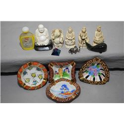 Selection of Oriental cabinet pieces including reverse painted snuff bottle, small hand enamelled as