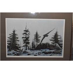 Framed Duck's Unlimited Canada, limited edition print of an eagle flying on a snowy landscape, penci