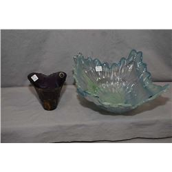"Two pieces of Murano glass including 12"" art glass bowl and a 4 1/2"" amethyst art glass vase"