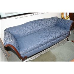 Antique Regency style full sized sofa recently reupholstered in blue damask fabric
