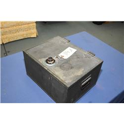 "Small double handled strong box with combination lock, approximately 12"" X 15"" X 8"""