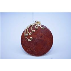 Red Jasper agate pendant with 14kt yellow gold and accent diamond decoration an bale
