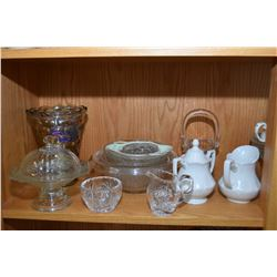 Shelf lot of glass, porcelain and china including Royal Albert Old Country Roses, J & G Meakin cream