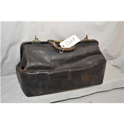"Vintage leather bag with cotton lining with original buttons and labelling ""Velver Fitall Travel bag"