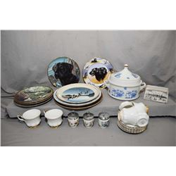 Selection of china collectibles including six Royal Albert Val D'or tea cups and saucers, lidded cas