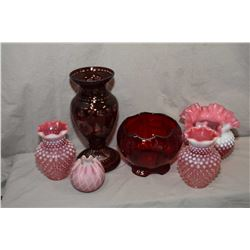 "Selection of vintage coloured glass including ruby cut to clear 10"" vase, ruby etched footed rose bo"