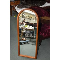 """Danish teak framed cathedral style mirror 44"""" x 17 1/2"""""""