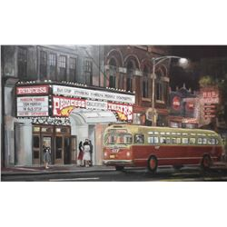 Framed print of vintage Edmonton including Princess Theatre, Hub cigar and vintage ETS bus