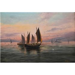 """Antique gilt framed oil on canvas painting of sailing ships in a sunset, signed by artist 14"""" X 19"""""""