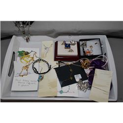 Tray lot of collectible jewellery including sterling silver necklace and pendants, gemstone necklace