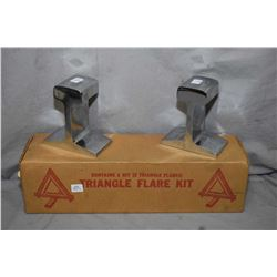 Pair of railway cut rail sections, chromed plated for use as bookend and boxed Triangle flare kit
